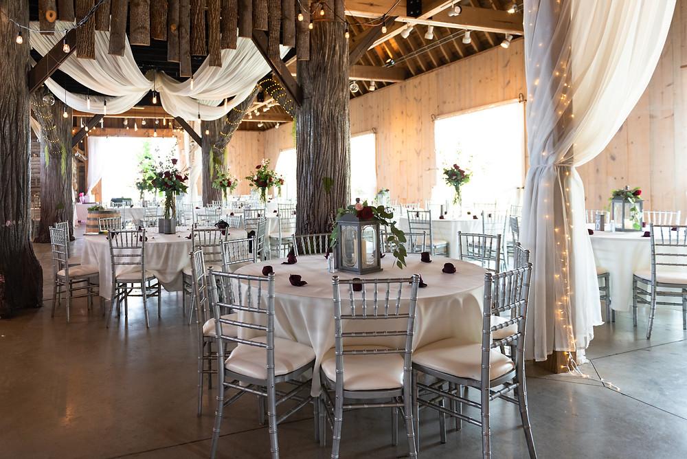 Wedding reception at Rich Farms Nursery in the barn