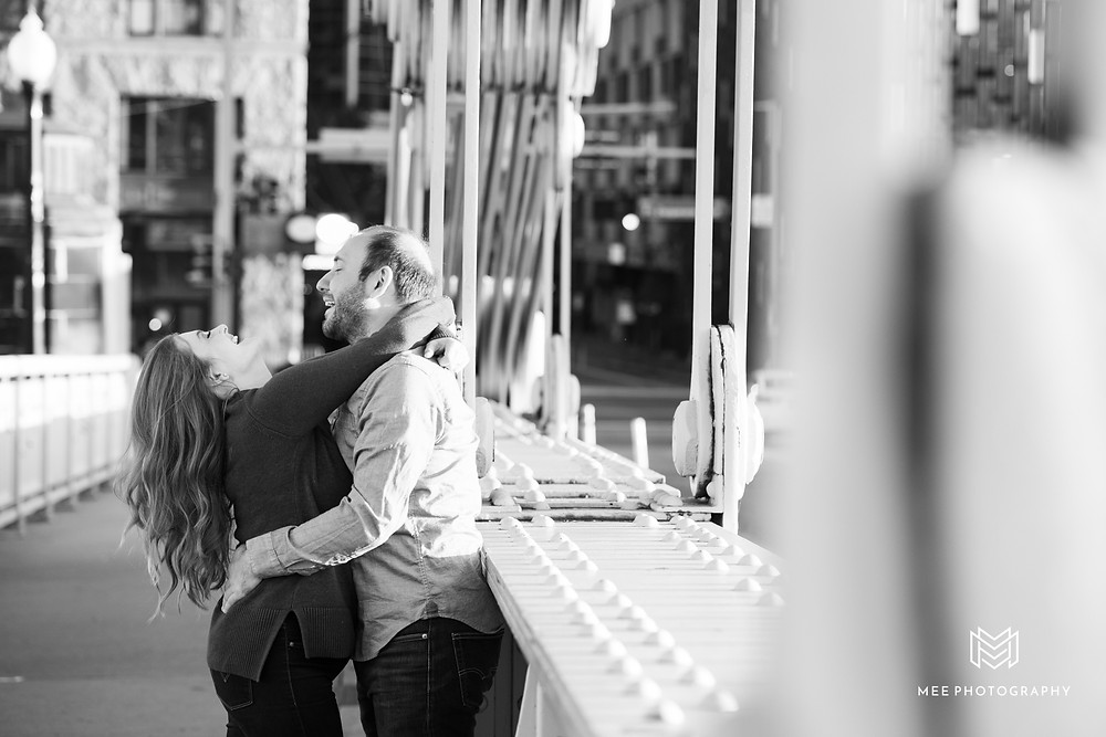 Engagement session on Roberto Clemente Bridge in Pittsburgh