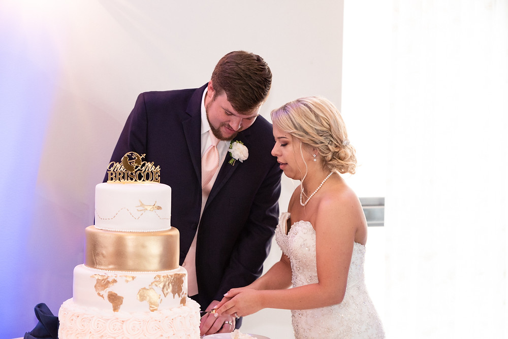 bride and groom cutting travel themed cake