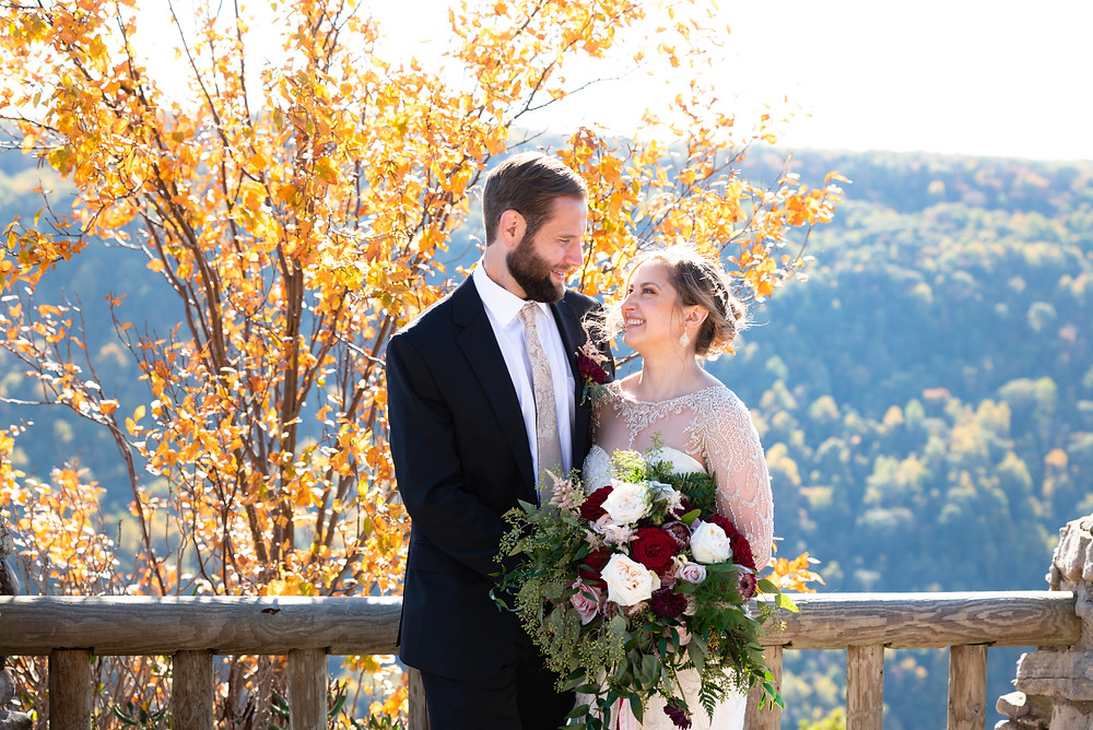 Coopers Rock State Park bride and groom photos