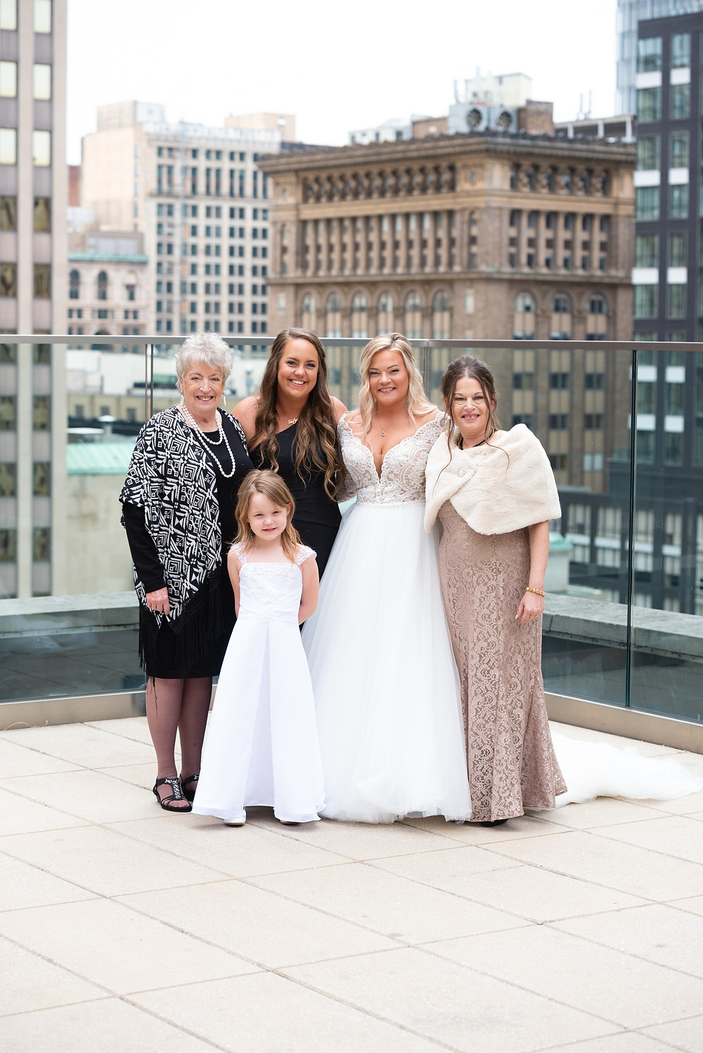 Family wedding portraits on the roof of hotel Monaco in Pittsburgh