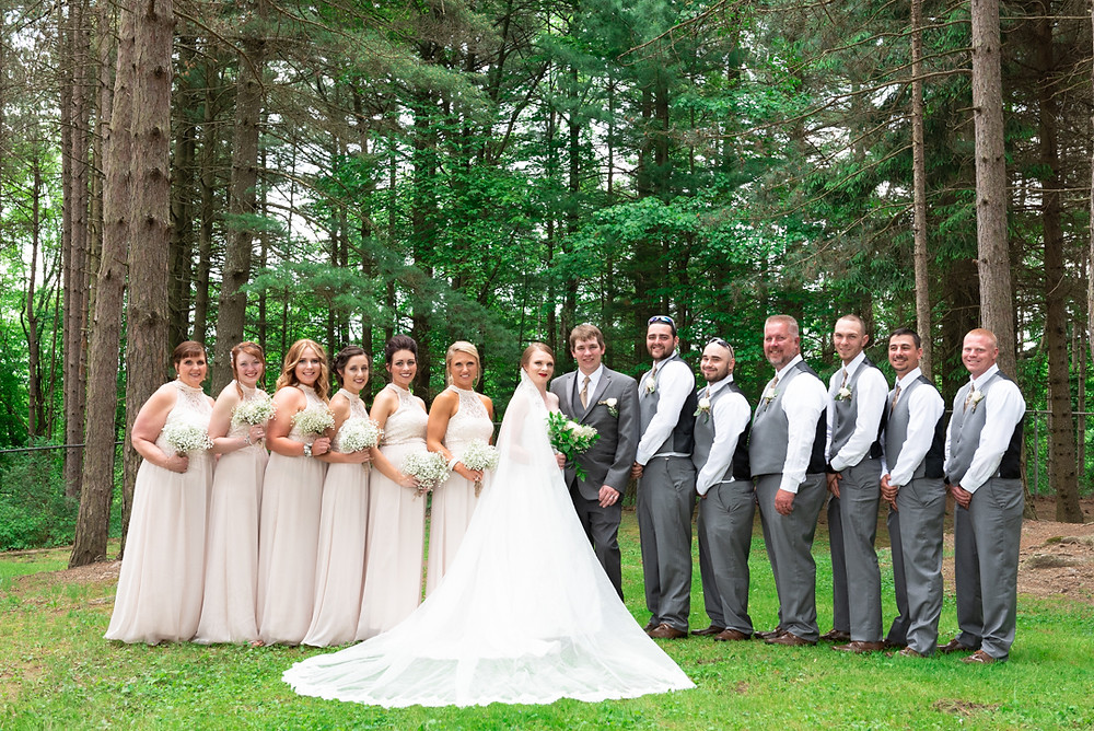 Bridal party portrait at Hanover Park near Pittsburgh
