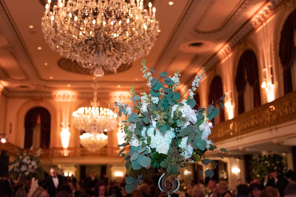 Floral centerpiece at the Omni William Penn hotel