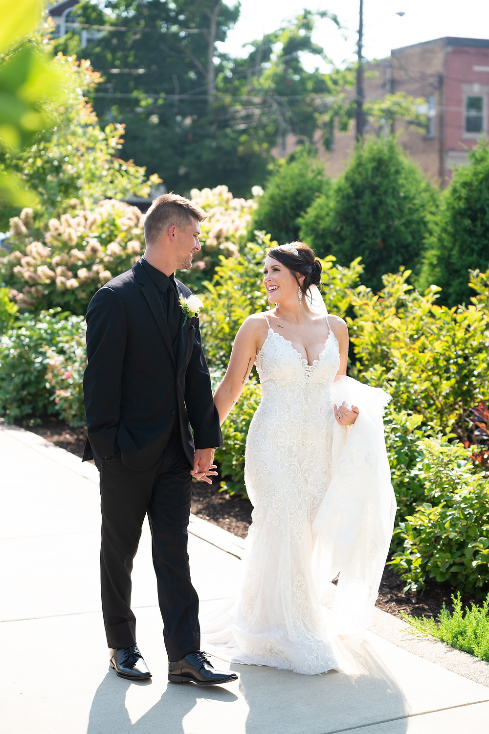 Bride and groom portraits at the Beaver Station Cultural and Event Center