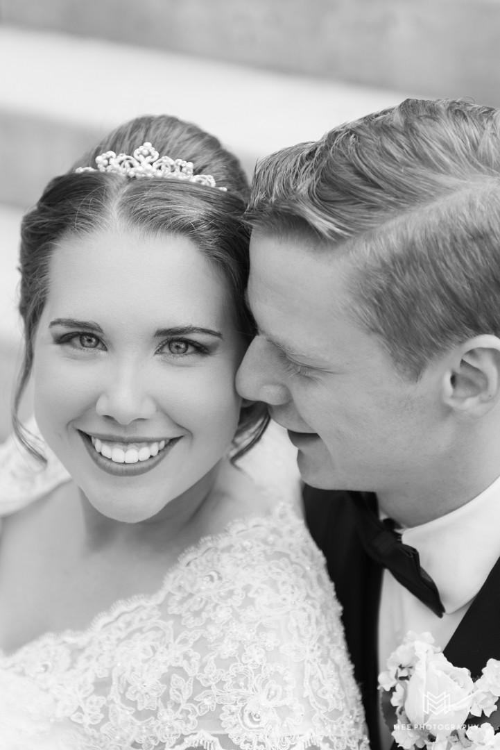 Black and white headshots of the newlyweds