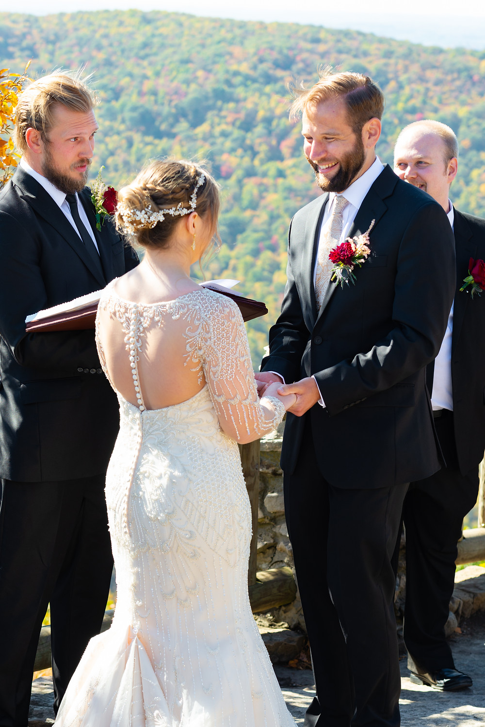 Bride and groom saying their vows at Coopers Rock State Park