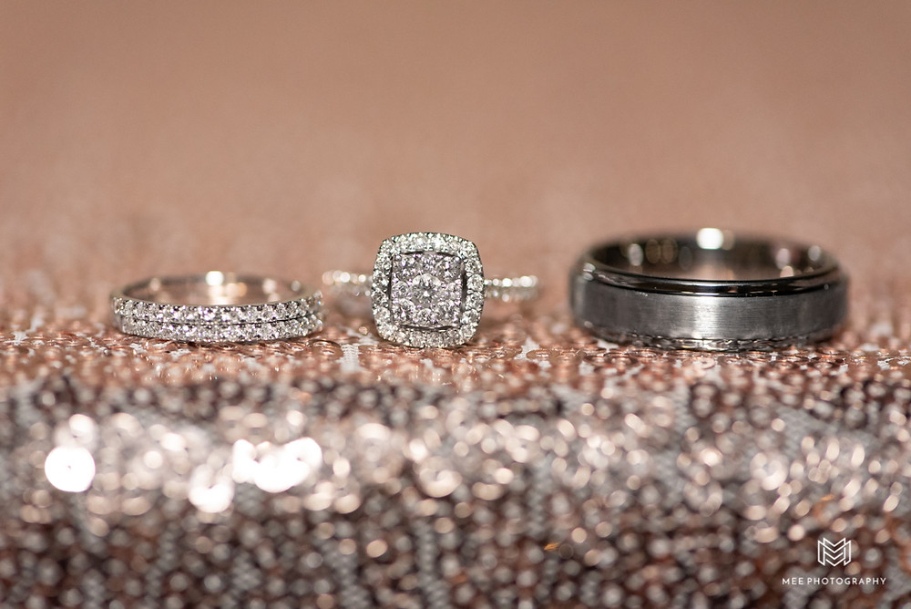 Wedding Bands on Rose Gold Sequin table cloth