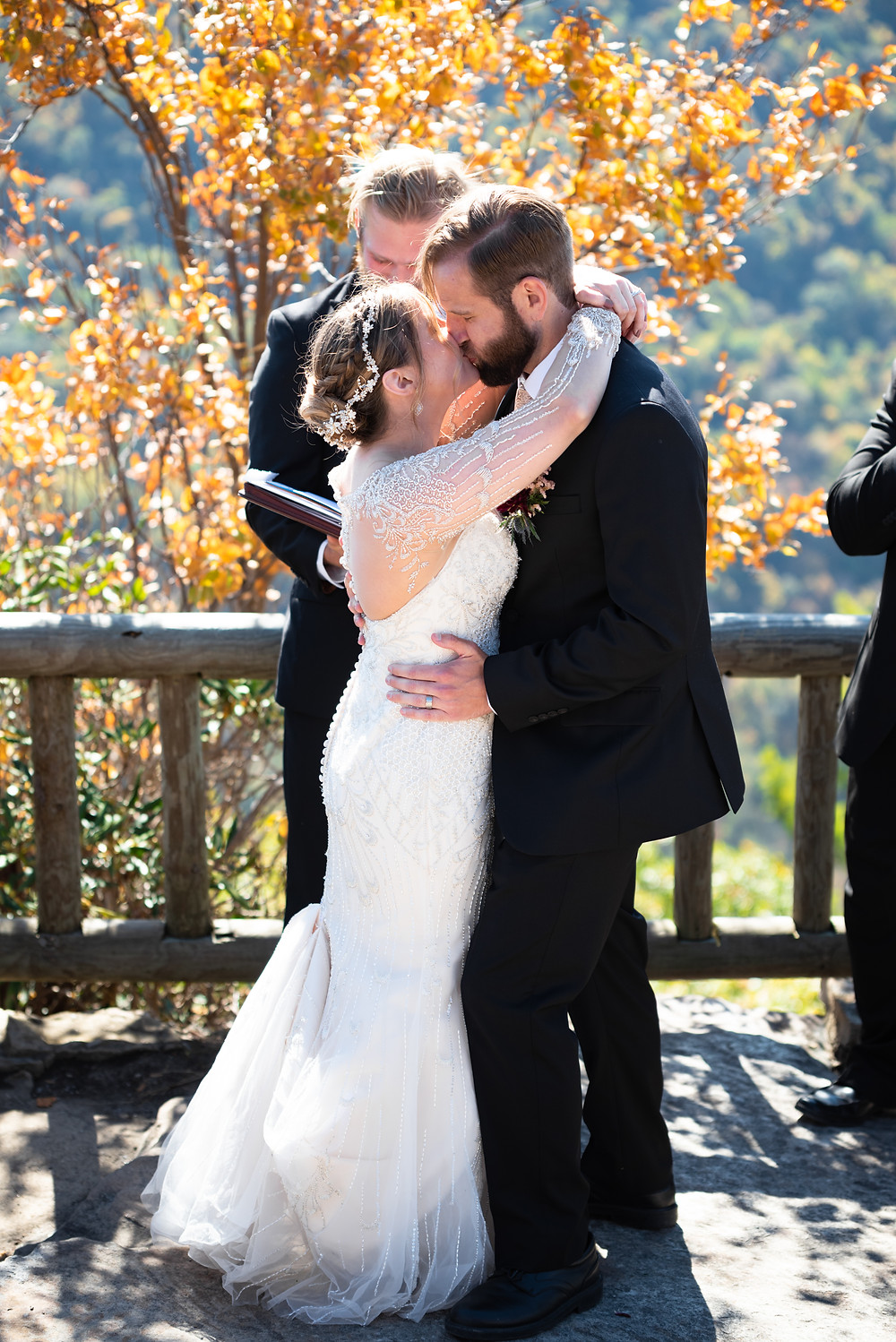 First kiss as husband and wife at Coopers Rock Overlook