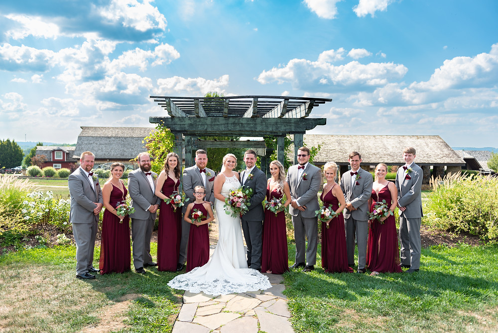 Grey and burgundy bridal party portrait outside at Rich Farms Nursery