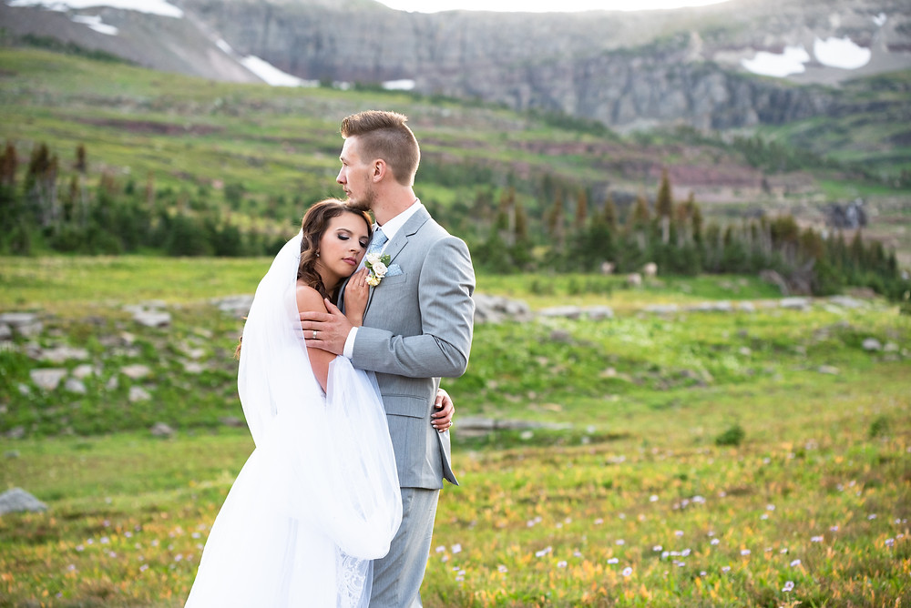 Outdoor elopement in the mountains of Glacier National Park