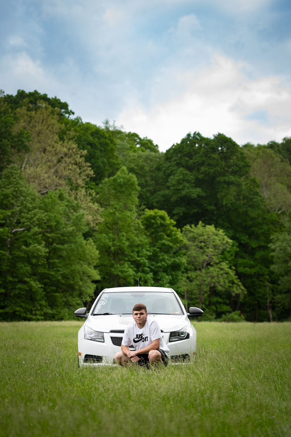 Pittsburgh senior guy photography session with his car at a park