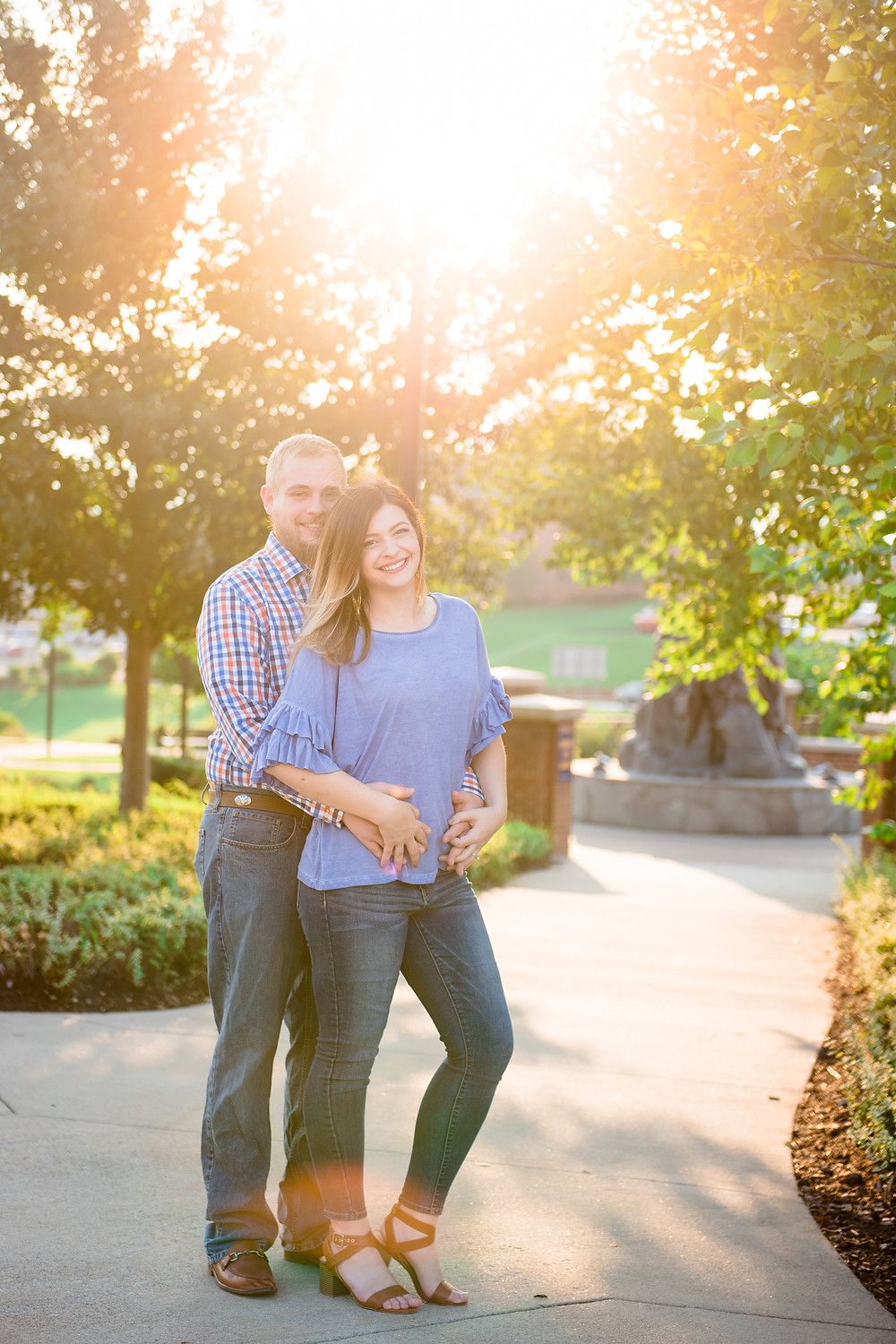 An engagement session with gorgeous sunlight on the campus of West Virginia University in Morgantown