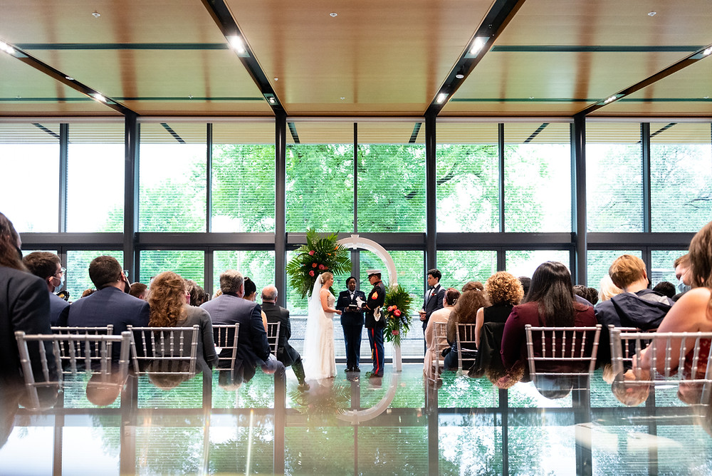 The National Aviary wedding ceremony in Pittsburgh, Pennsylvania