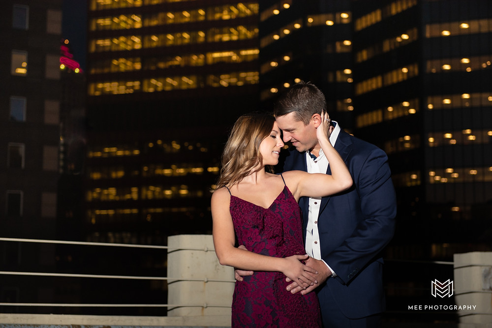 Rooftop engagement session at night in Pittsburgh, PA