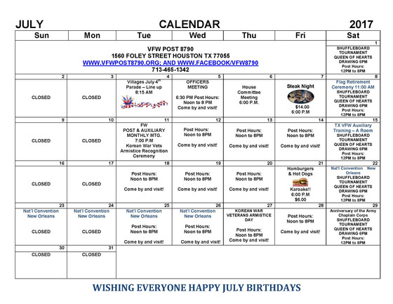 VFW Post 8790 July Calendar