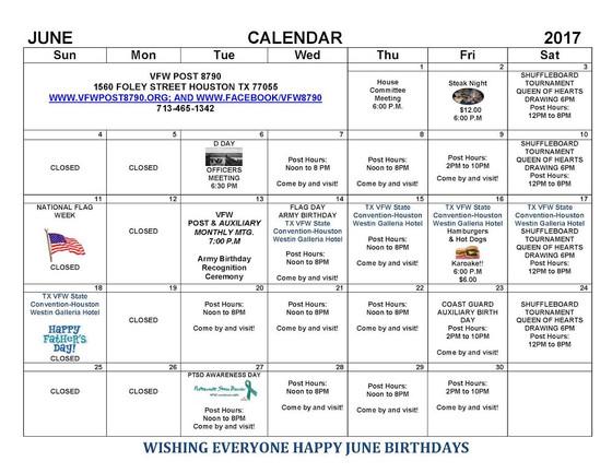 Post 8790 June 2017 Calendar