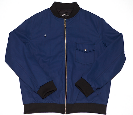 Navy Waxed Canvas Bomber