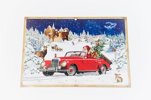 Adventkalender A4 Weihnachtsmann im Auto