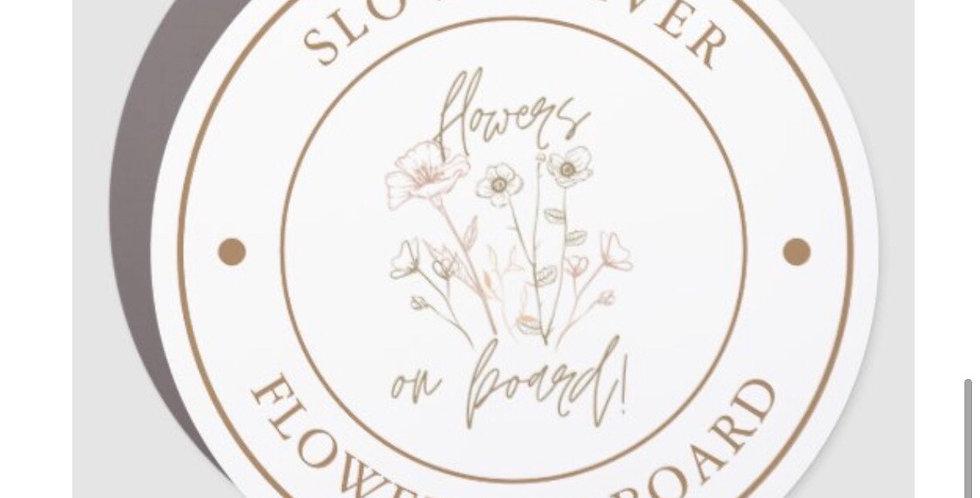 Flowers on Board Car Magnet