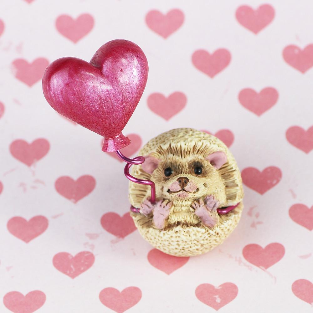 Pygmy hedgehog figurine Valentines Day