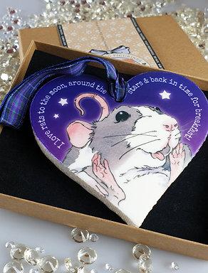 Pet Rat Heart Hanger Purple