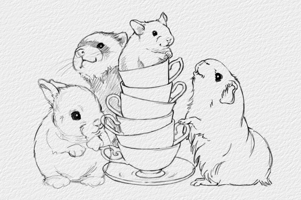 illustration of ferret, hamster, guinea pig, baby rabbit and teacups.