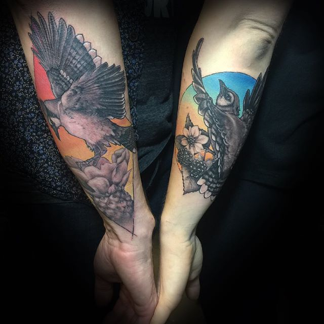 Blue Jay couple tattoo