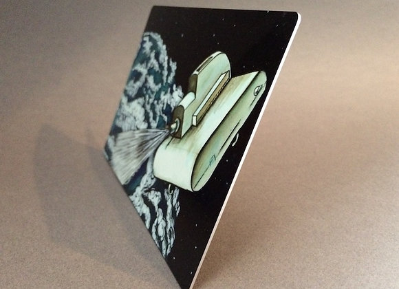 Slide Projectors in Space, print on aluminum