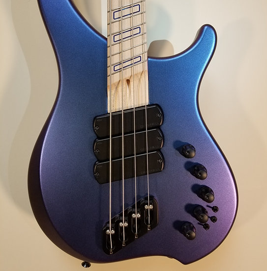Dingwall ABZ 4-String, Blue/Purple Colorshift, Ghost Blocks, Darkglass