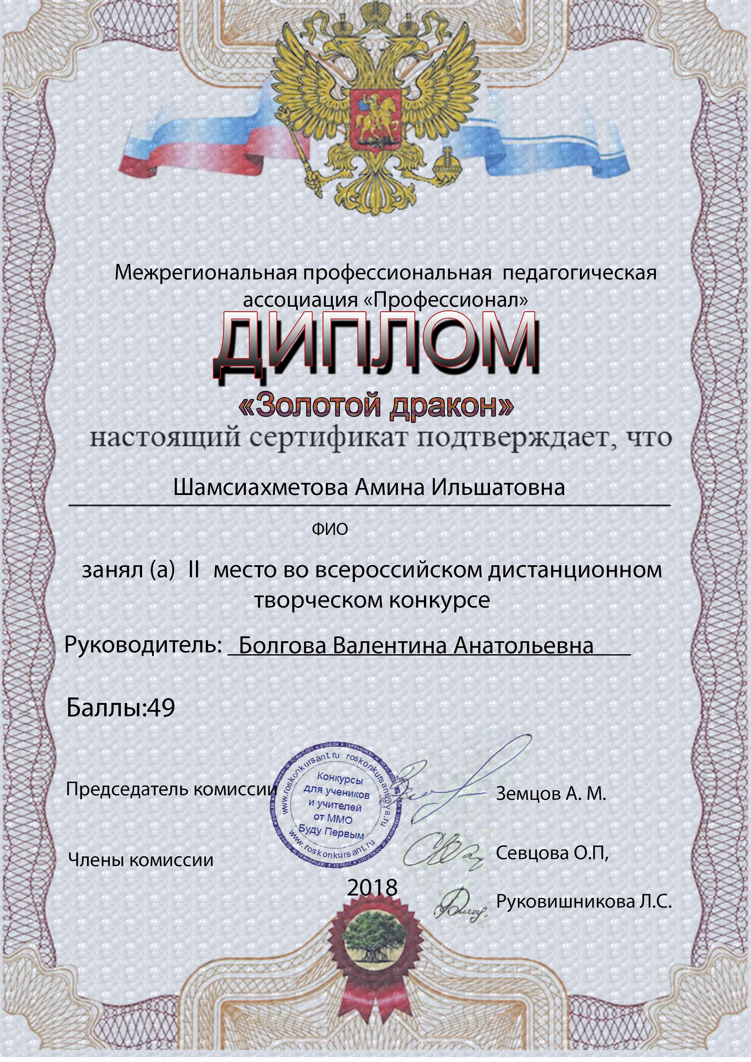 Шамсиахметова Амина Ильшатовна