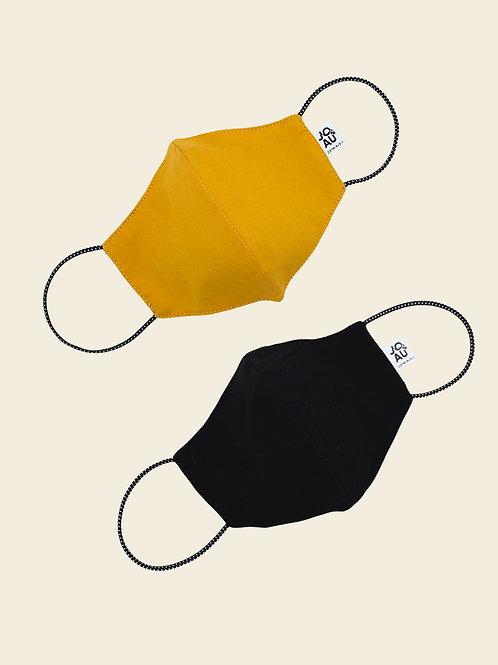 Pack02: Mascarilla Mostaza Color Entero + negro