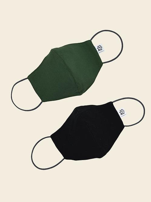 Pack02: Mascarilla Verde Militar color Entero+ negro