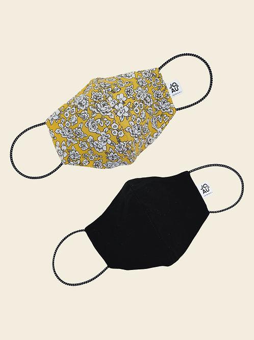 Pack02: Mascarilla Rosas Amarillas + negro