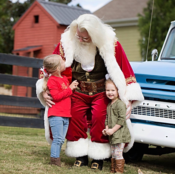 Santa visits the farm.