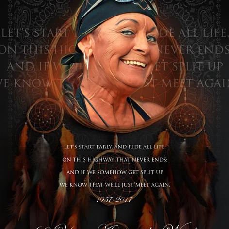 Memorial design created for a member of The American Legion Riders – Anita Strickland.