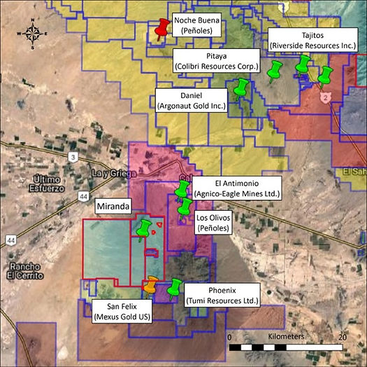 Map of companies with adjacent properties to Zapata Exploration Ltd. concessions.