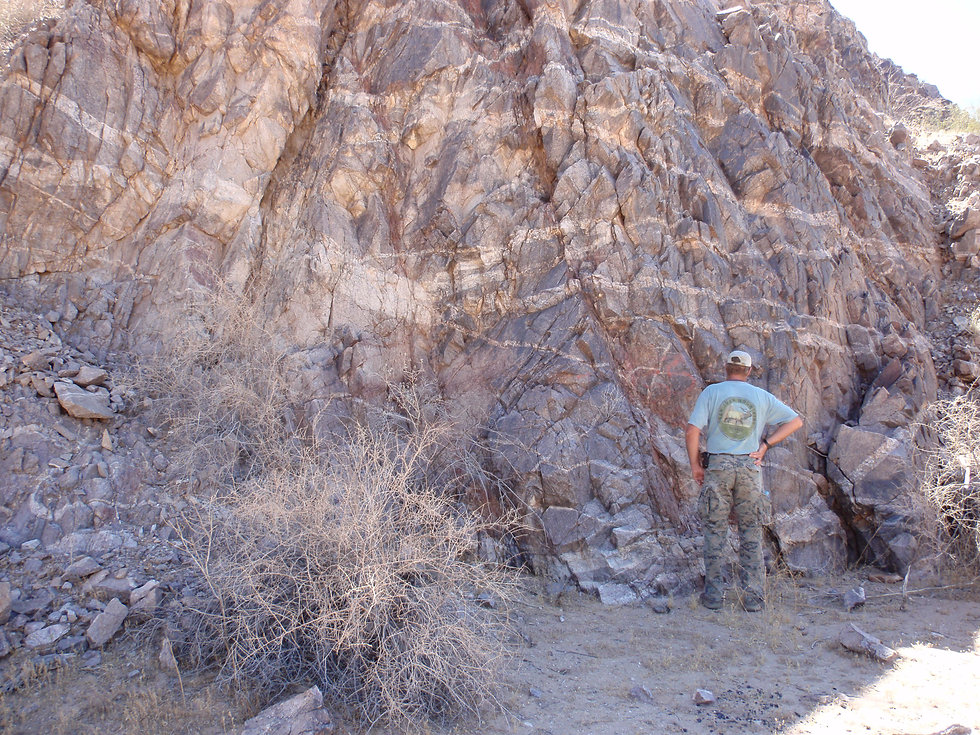 Zapata Exploration Apache Project Pegmatite dikes in PreC granite.