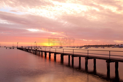Bay Yachts at sunrise, Geelong, Eastern Beach, VictoriaAsutralia