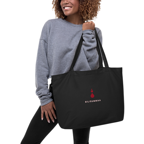 Large organic embroidered tote bag