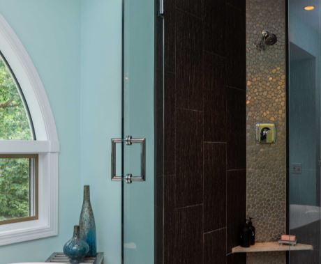 Richly textured surfaces and bold colors define this elegant retreat