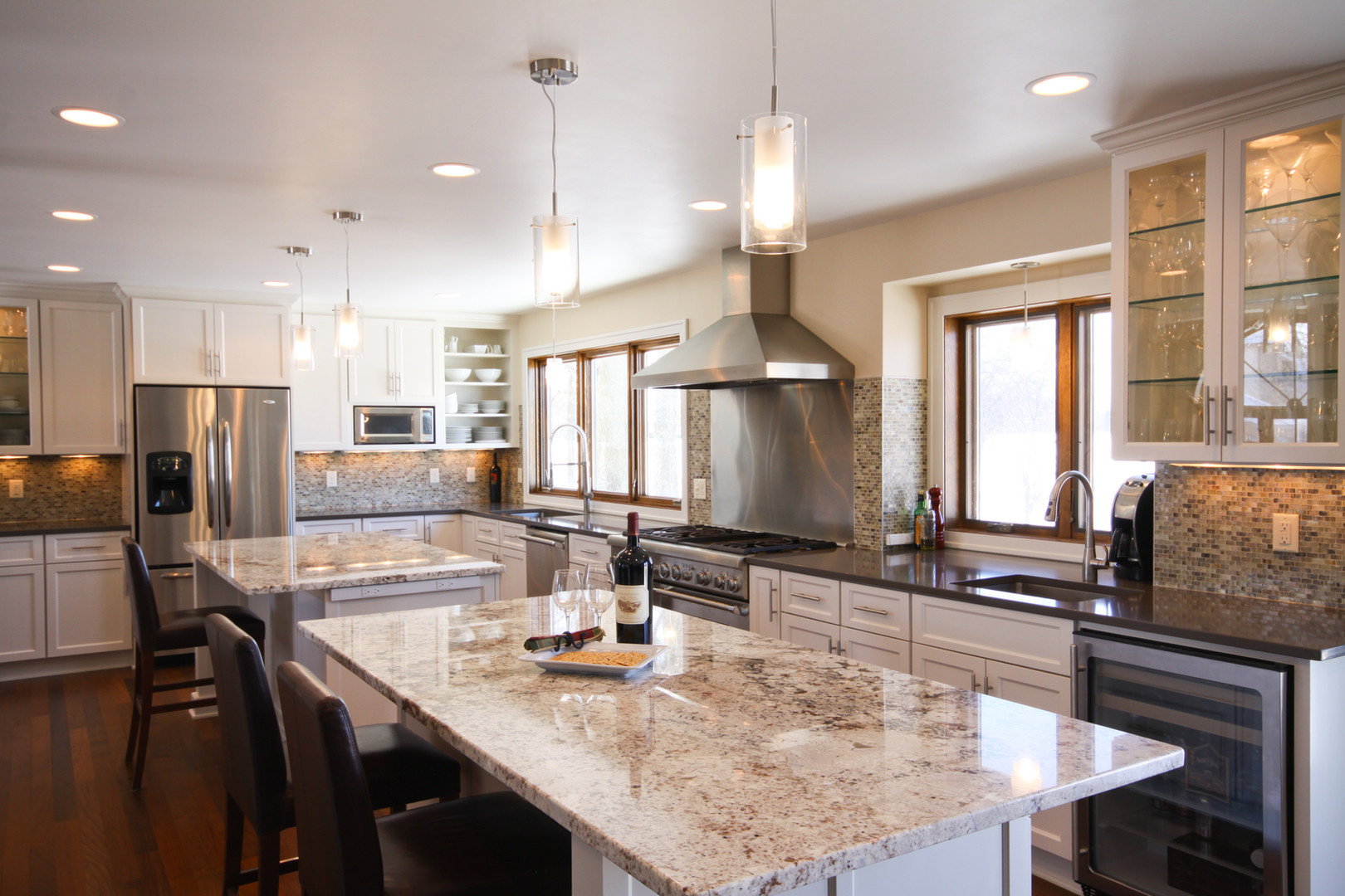 CONTEMPORARY BROOKLYN  PARK KITCHEN:   Once we removed the wall between the old kitchen and dining room, this spacious kitchen came into its own