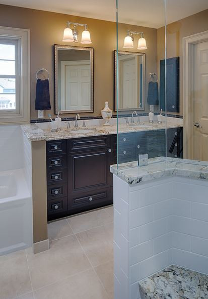A view towards the vanity from inside the shower