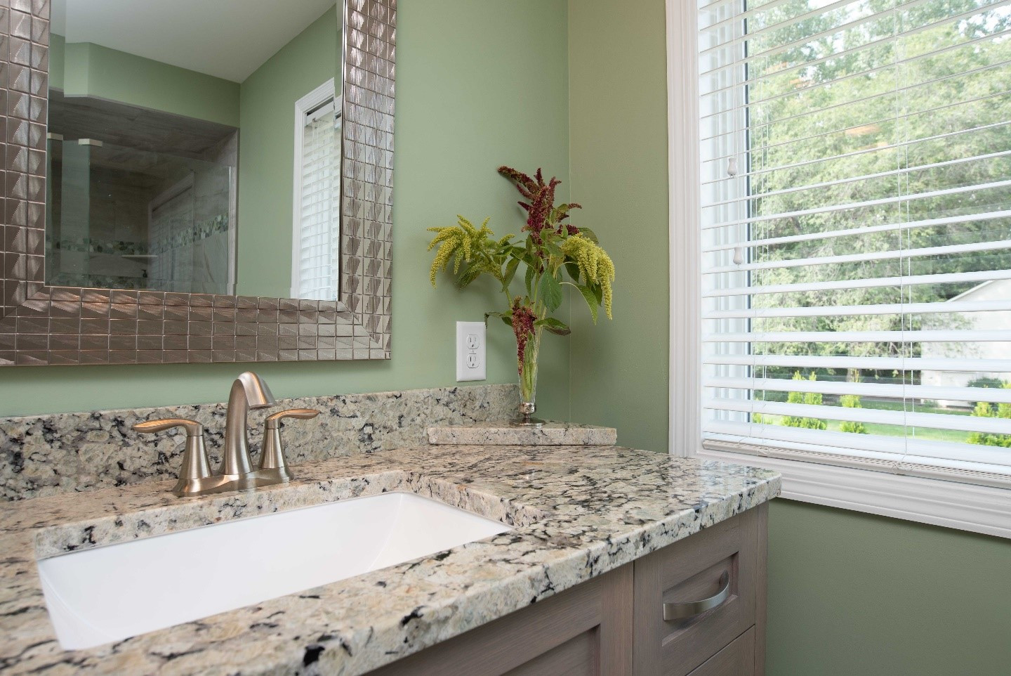EDEN PRAIRIE CAPE COD INSPIRED MASTER BATH:  This bath sings with a blend of fresh greens and white washed wood tones