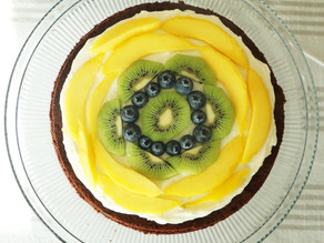 Mega Kiwi Mango Brownie Pizza