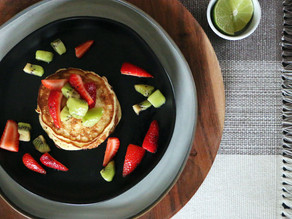 Banana Pancakes with Strawberry Mega Kiwi Topping