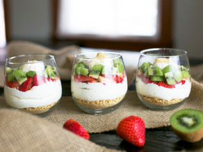 No Bake Mega Kiwi & Strawberry Cheesecake Party Parfaits