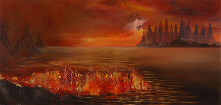 Fire Sea     3 / 2019,   oil painting , 100x37 cm ​  ​