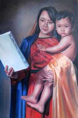 Taiwanese of Madonna and Child with religious freedom 6 / 2020,  oil on canvas , 67 X 100 CM