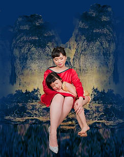 21 century Madonna and Child - The Virgin of the Rocks in the Orient 3.2020 , Photoshop