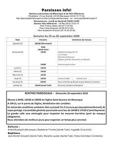 PAROISSE INFO du 19 au 26 septembre 2020